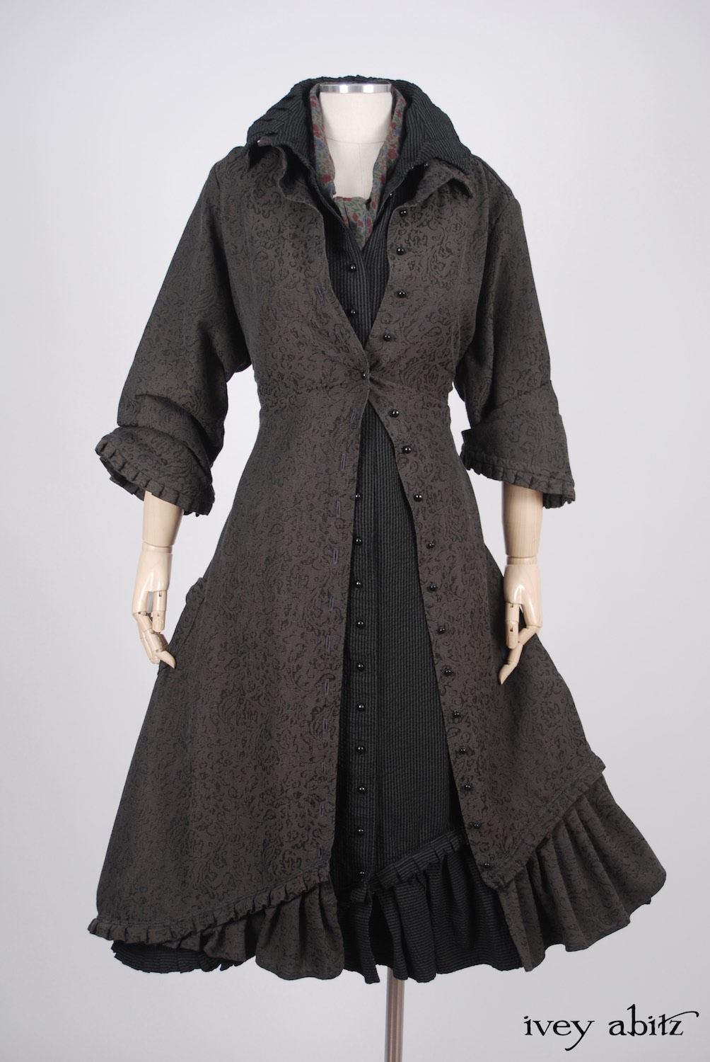 Ivey Abitz - Wilhemena Duster Coat in Moonlit Meadow Vine Weave  - Wilhemena Frock in Moonlit Meadow Puckered Striped Cotton  - Clotaire Sash in Peony Meadow Cotton Voile