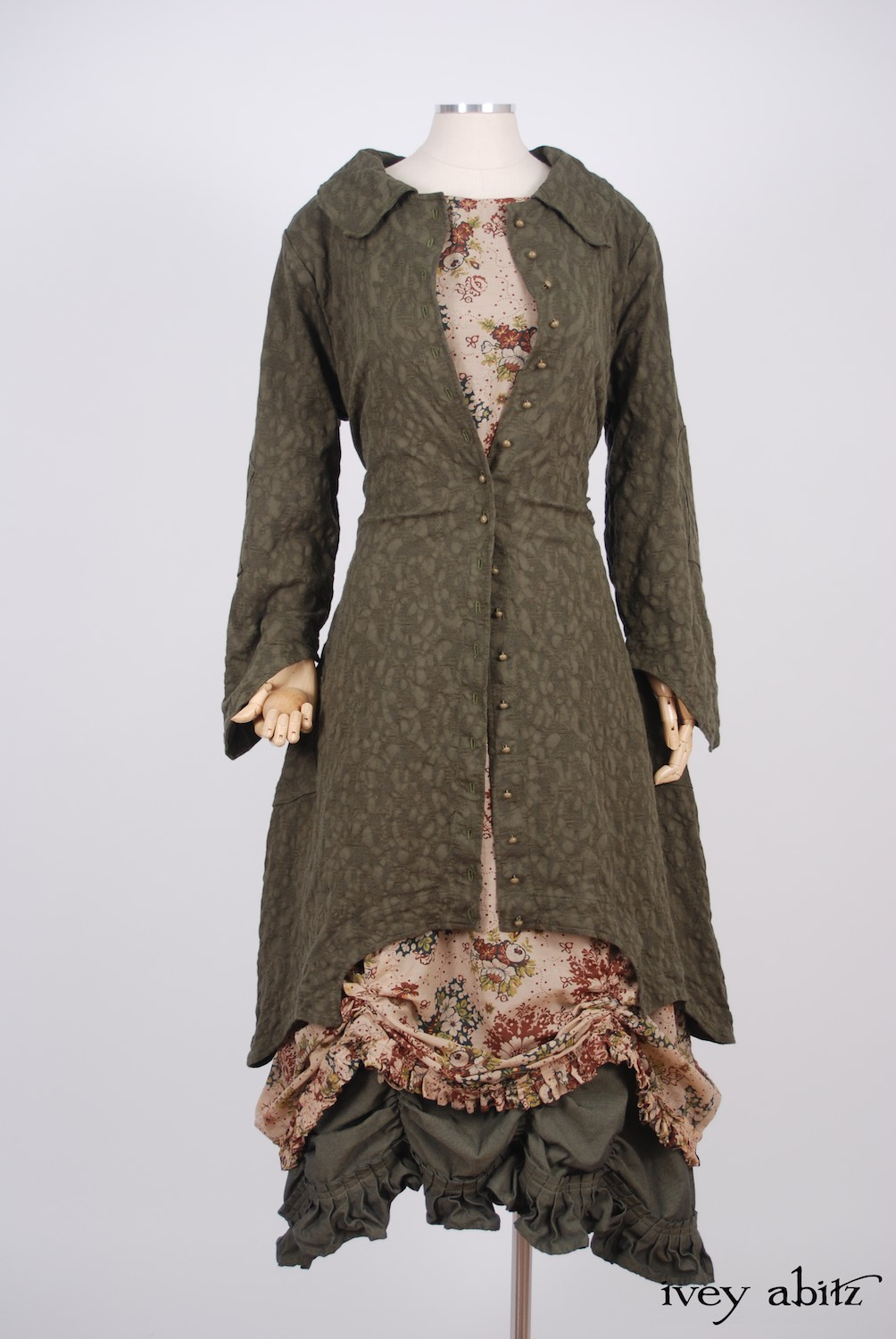 Ivey Abitz - Chittister Duster Coat in Morning Meadow Hemstitch Jacquard  - Montmorency Frock in Blushed Meadow Floral Cotton Voile, High Water Length - Edenshire Frock in Morning Meadow Yarn Dyed Cotton, Low Water Length