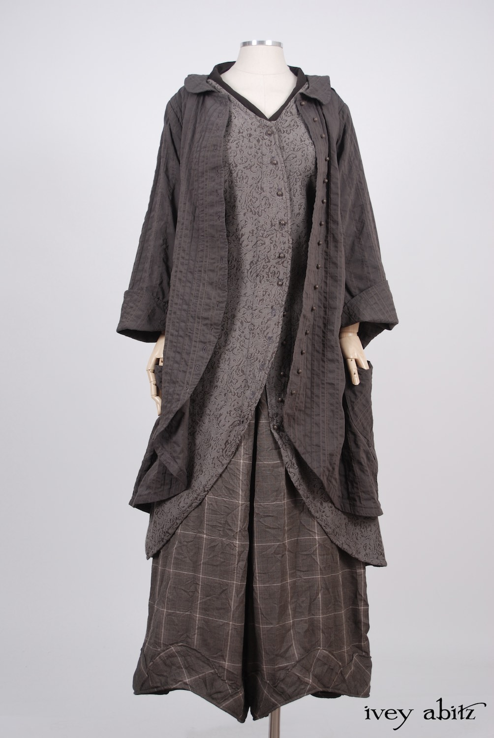 Ivey Abitz - Arthur Hill Jacket in Feather Textured Striped Cotton  - Arthur Hill Frock in Feather Vine Weave  - Clotaire Sash in Feather Brown Crepe Voile  - Grasmere Trousers in Feather Brown Crushed Plaid Weave, Low Water Length