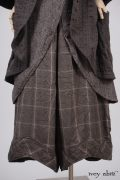 - Arthur Hill Jacket in Feather Textured Striped Cotton  - Arthur Hill Frock in Feather Vine Weave  - Clotaire Sash in Feather Brown Crepe Voile  - Grasmere Trousers in Feather Brown Crushed Plaid Weave, Low Water Length