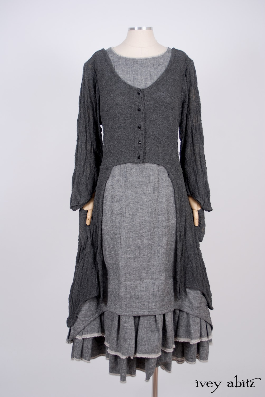 Ivey Abitz - Highbridge Duster Coat in Sparrow Grey Open Weave Knit - Limited Edition Trelawny Frock in Blackbird/Dove Rustic Weave, High Water Length