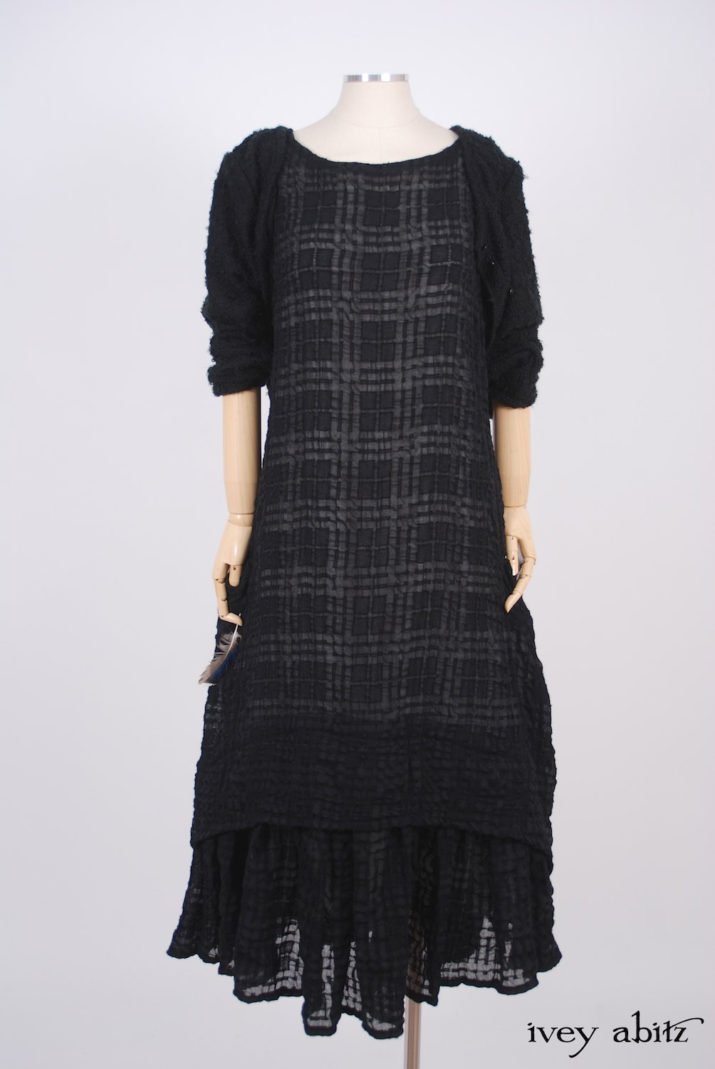 Ivey Abitz - Elliot Jacket in Blackbird Bouclé Knit  - Blanchefleur Frock in Blackbird Plaid Challis, High Water Length  - Cilla Slip Frock in Dove Striped Voile, Flood Length