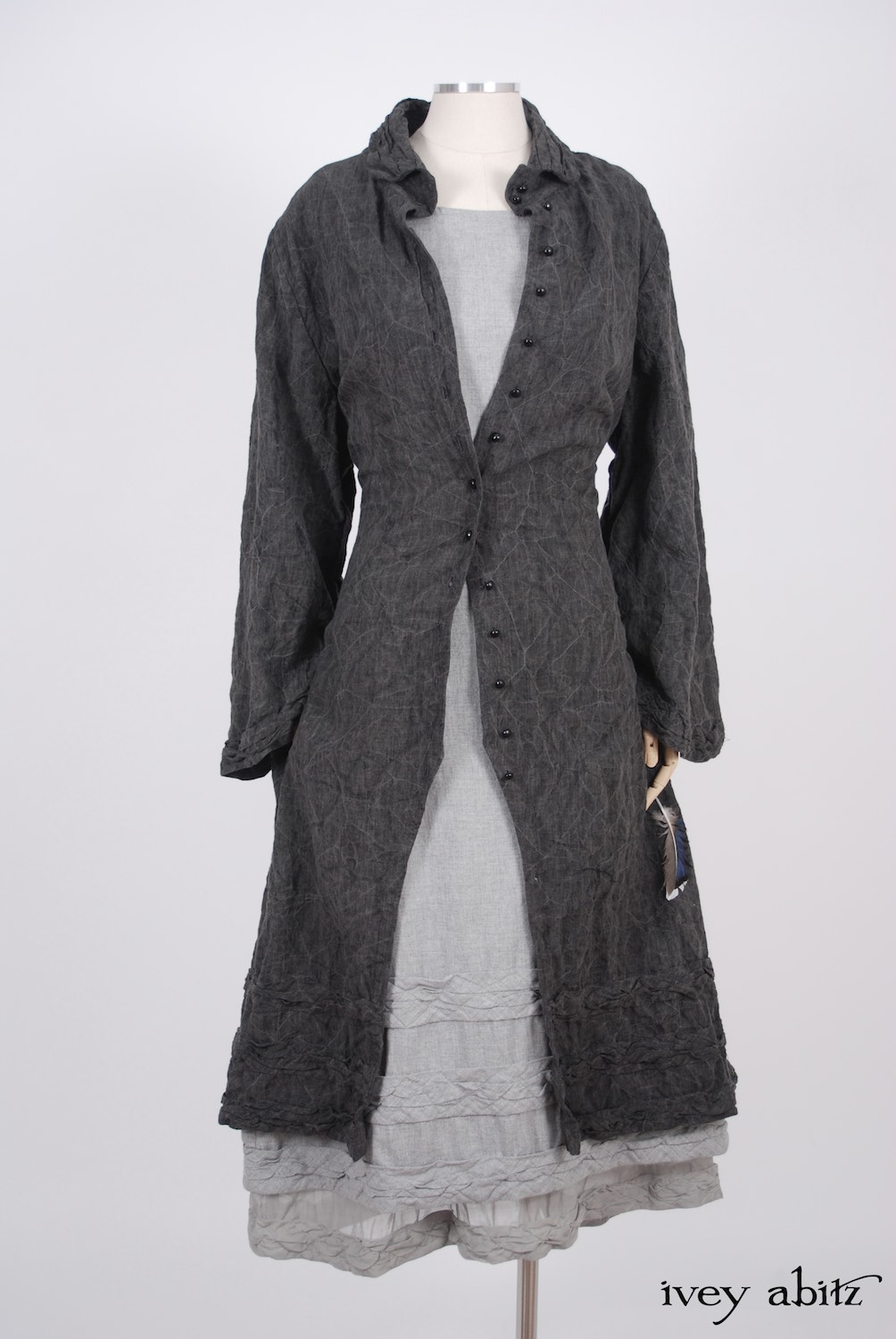 Ivey Abitz - Bartholomew Duster Coat in Sparrow Grey Antiqued Linen  - Tollie Frock in Sparrow Grey Softest Cotton Twill, High Water Length  - Tollie Frock in Sparrow Grey Wispy Silk Voile, Low Water Length