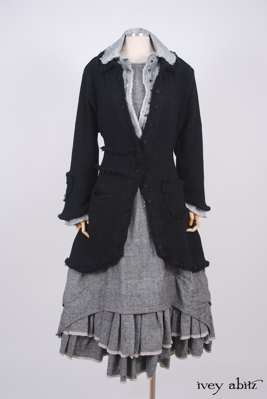 Ivey Abitz - Sollie Jacket in Blackbird Rustic Silk Linen  - Sollie Shirt in Sparrow Grey Jacquard  - Limited Edition Trelawny Frock in Blackbird/Dove Rustic Weave, High Water Length
