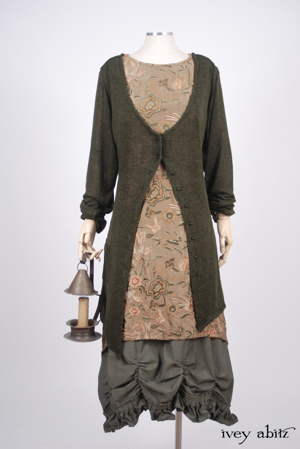 Ivey Abitz - Fairholme Jacket in Morning Meadow/Blackbird Softest Knit - Dennison Frock in Birdsong Embroidered Silk   - Edenshire Frock in Morning Meadow Yarn Dyed Cotton, Low Water