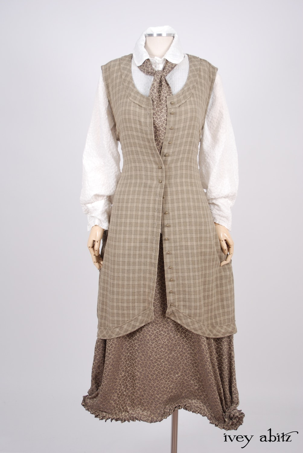 Ivey Abitz - Truitt Shirt in Dove Striped Voile  - Holkham Hall Necktie in Flaxseed Leafy Silk Linen  - Truitt Frock in Flaxseed Plaid Weave  - Mathilda Frock in Flaxseed Vine Silk Linen, Low Water Length