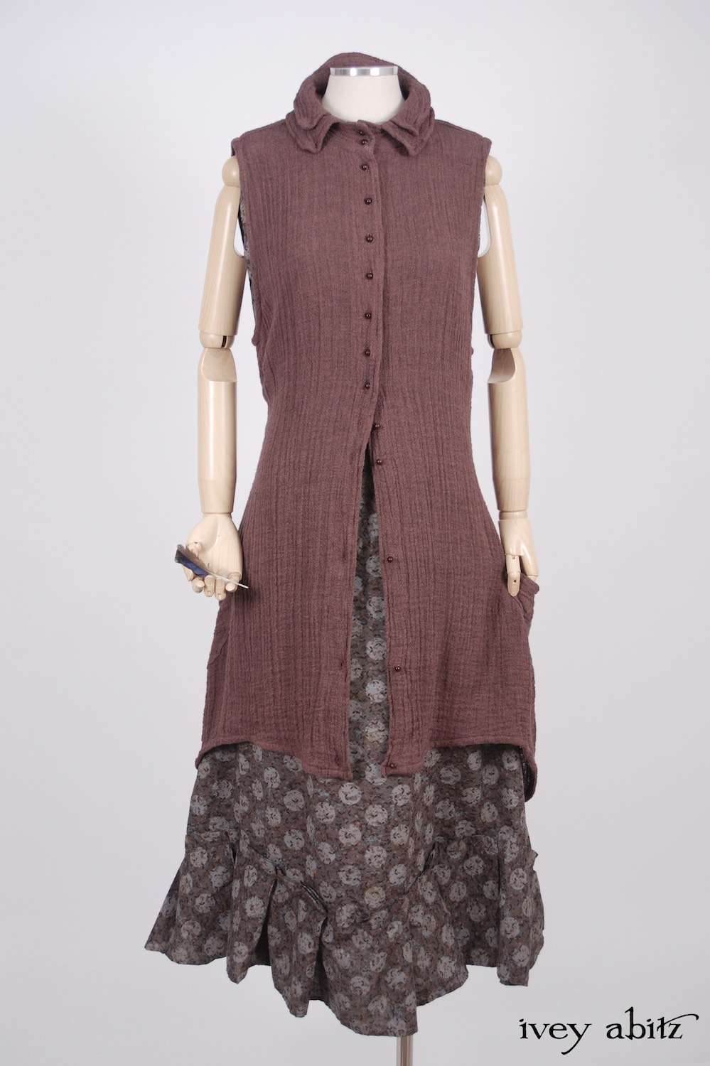 Ivey Abitz - Inglenook Vest in Hummingbird Double Layered Linen Scrim  - Inglenook Frock in Flock and Moon Cotton Voile, Low Water Length