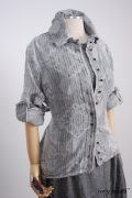 - Sollie Shirt in Sparrow Grey Jacquard  - Limited Edition Trelawny Frock in Blackbird/Dove Rustic Weave, High Water Length