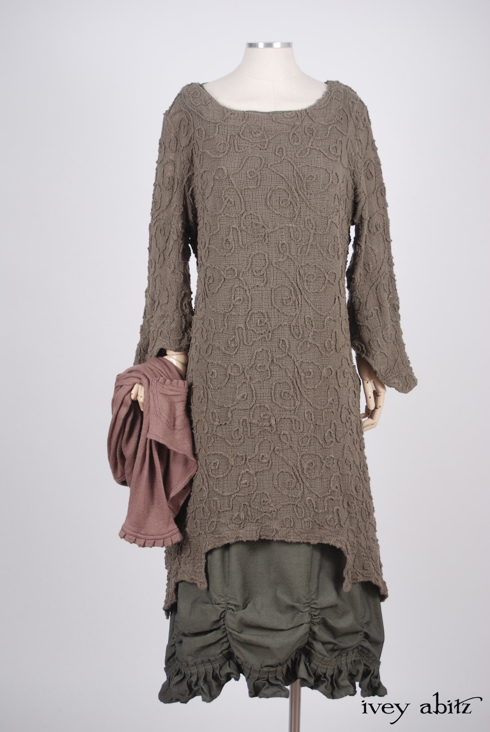 Ivey Abitz - Canterbury Cardigan in Blushed Cashmere Knit  - Chittister Dress in Meadow Embroidered Swirl Gauze  - Edenshire Frock in Morning Meadow Yarn Dyed Cotton, Low Water Length