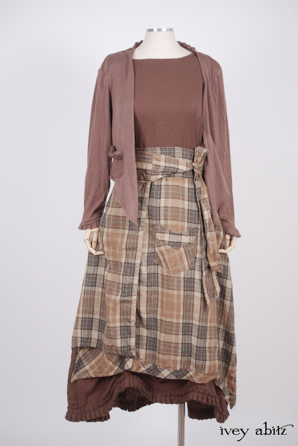 Ivey Abitz - Canterbury Cardigan in Blushed Cashmere Knit  - Highlands Skirt in Eternal Spring Plaid Linen  - Montmorency Frock in Blushed Double Layered Voile, Low Water Length