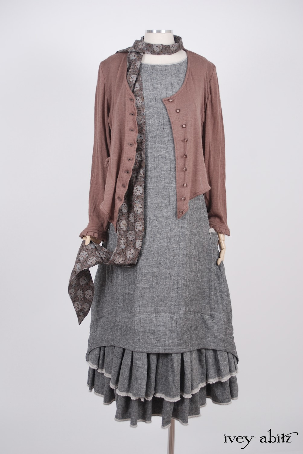 Ivey Abitz - Canterbury Cardigan in Blushed Cashmere Knit  - Blanchefleur Sash in Flock and Moon Cotton Voile  - Limited Edition Trelawny Frock in Blackbird/Dove Rustic Weave, High Water Length