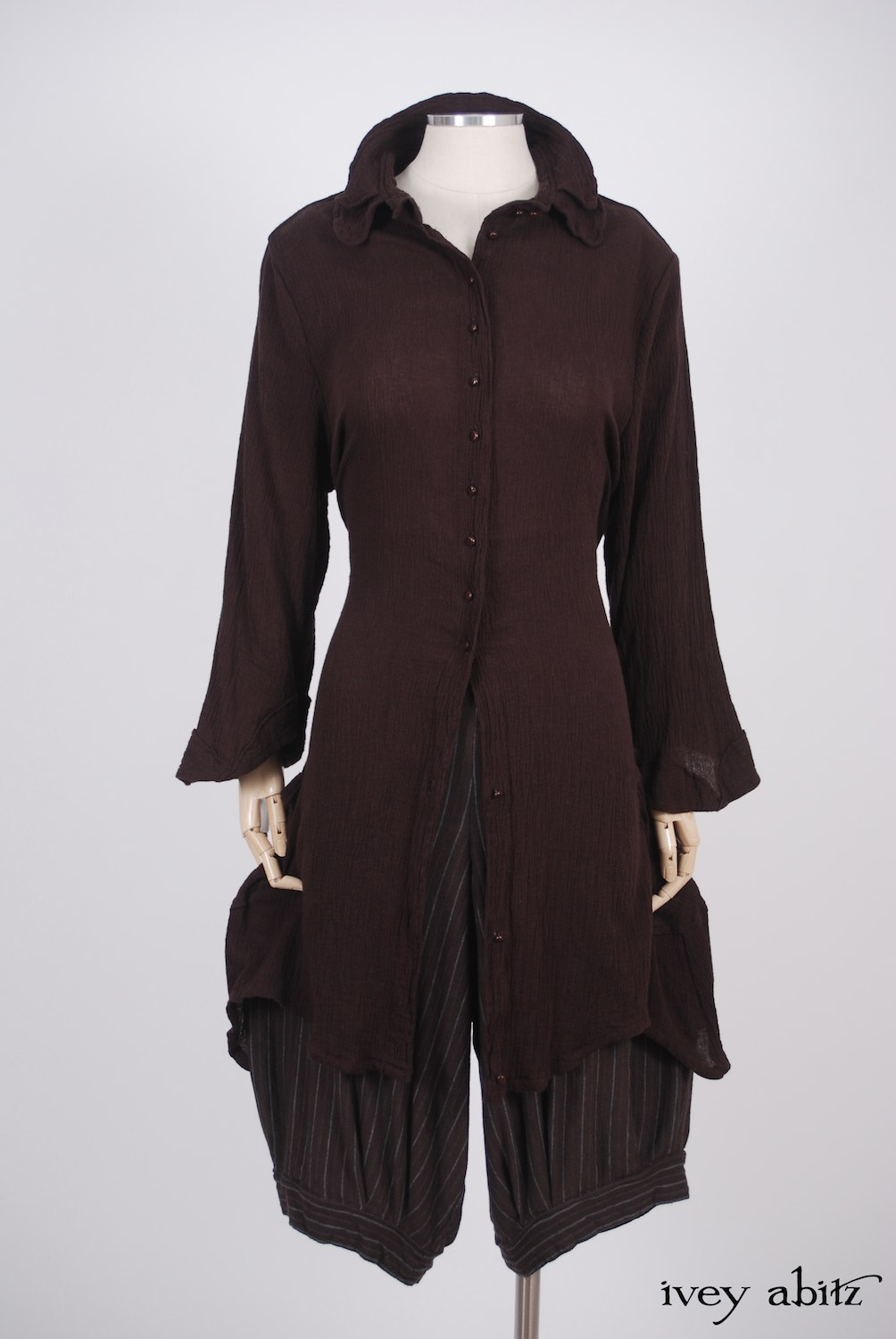 Ivey Abitz - Inglenook Shirt Jacket in Plumseed Crinkled Cotton Gauze  - Coulson Trousers in Plumseed Silky Striped Knit, High Water Length