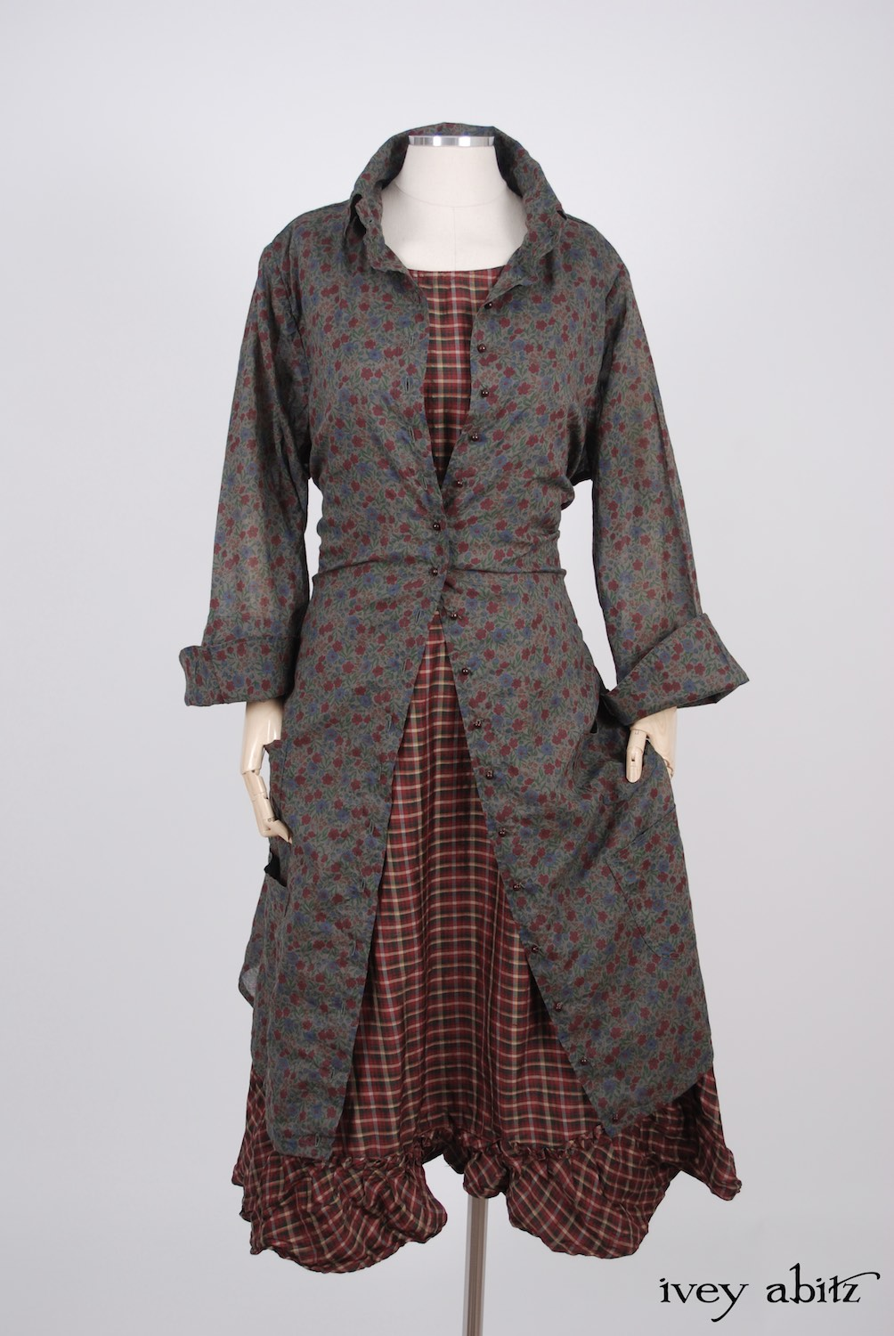 Ivey Abitz - Phinneus Coat Dress in Peony Meadow Cotton Voile  - Tilbrook Frock in Peony Washed Plaid Silk, High Water Length