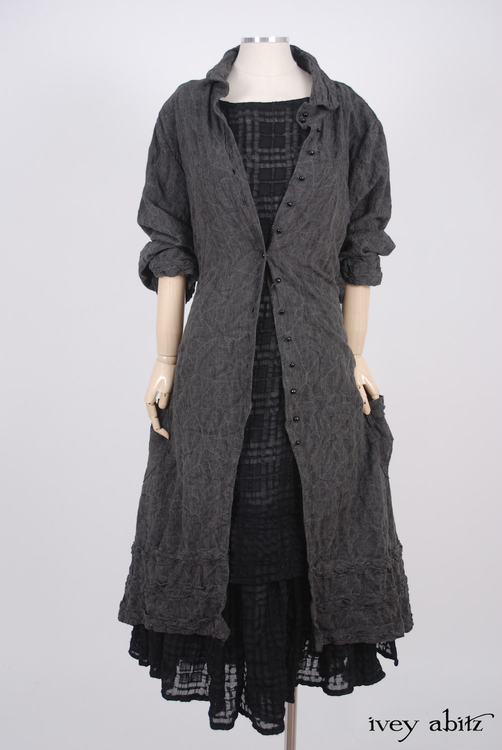 Ivey Abitz - Bartholomew Duster Coat in Sparrow Grey Antiqued Linen  - Blanchefleur Frock in Blackbird Plaid Challis, High Water Length  - Cilla Slip Frock in Dove Striped Voile, High Water Length