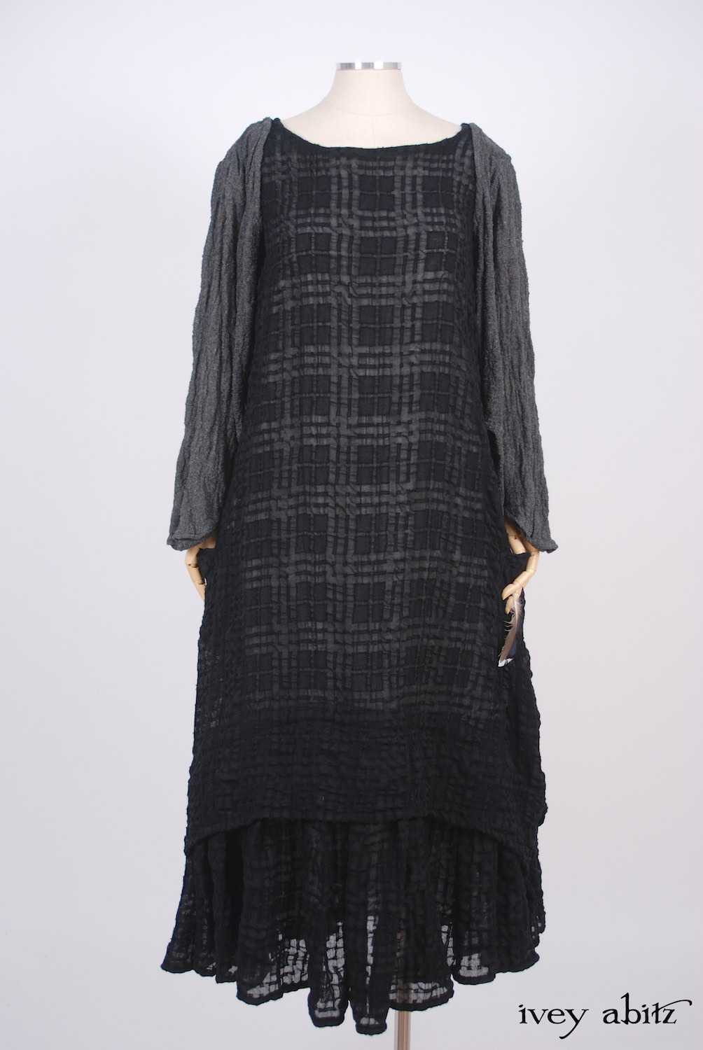 Ivey Abitz - Highbridge Duster Coat in Sparrow Grey Open Weave Knit  - Blanchefleur Frock in Blackbird Plaid Challis, High Water Length  - Cilla Slip Frock in Dove Striped Voile, High Water Length