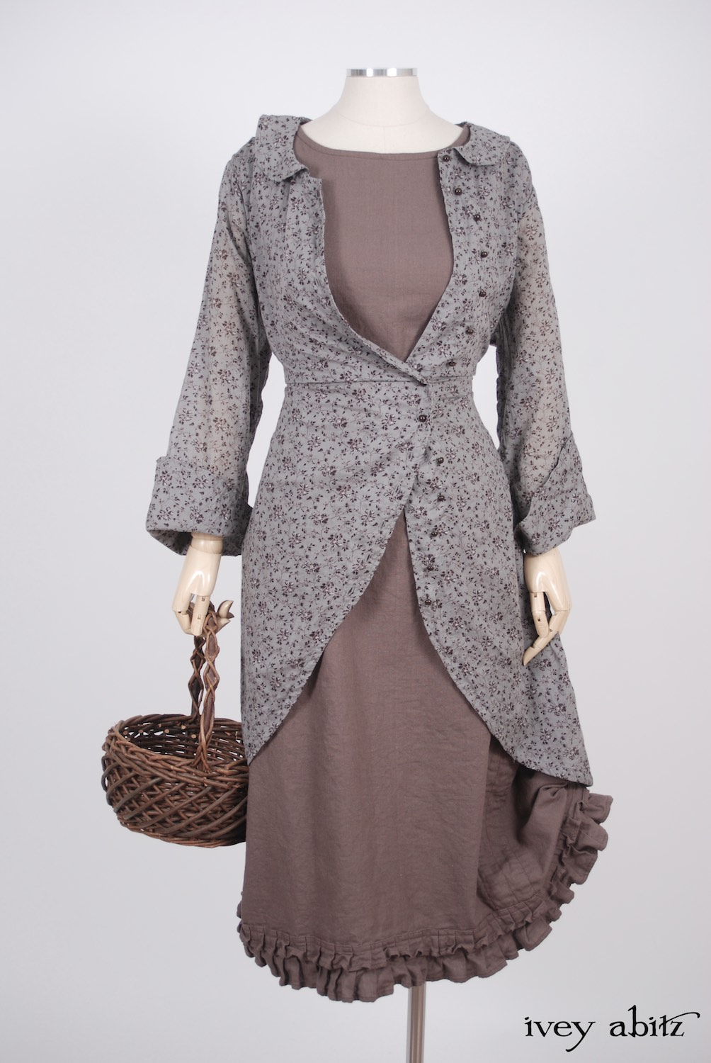 Ivey Abitz - Arthur Hill Jacket in Feather Brown Floral Cotton Voile  - Canterbury Frock in Hummingbird Washed Linen, High Water Length