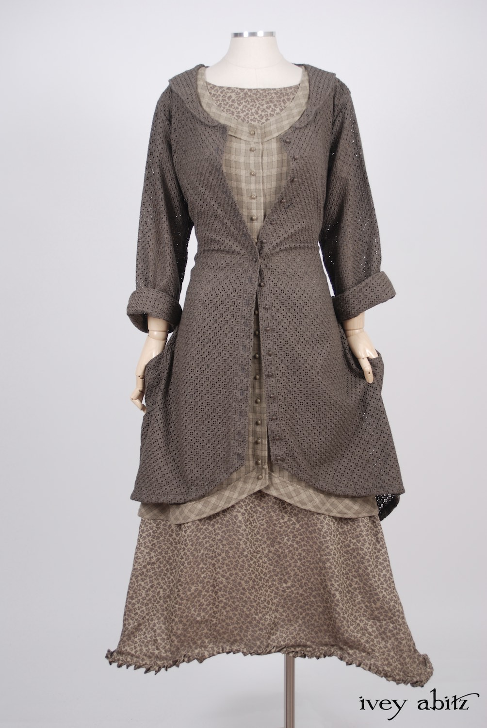 Ivey Abitz - Truitt Duster Coat in Flaxseed Embroidered Eyelet - Truitt Frock in Flaxseed Plaid Weave  - Mathilda Frock in Flaxseed Leafy Silk Linen, Low Water Length