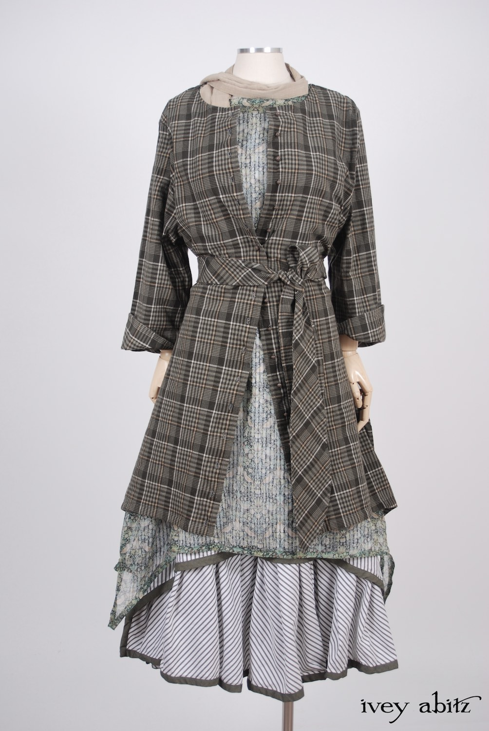 Ivey Abitz - Wildefield Duster Coat in Meadow Stretchy Plaid Cotton, High Water Length - Wildefield Frock in Bird and Vine Silk Organza  - Limited Edition Striped Blanchefleur Frock in Morning Meadow Striped Cotton, High Water Length  - Blanchefleur Sash in Blushed Plaid Voile