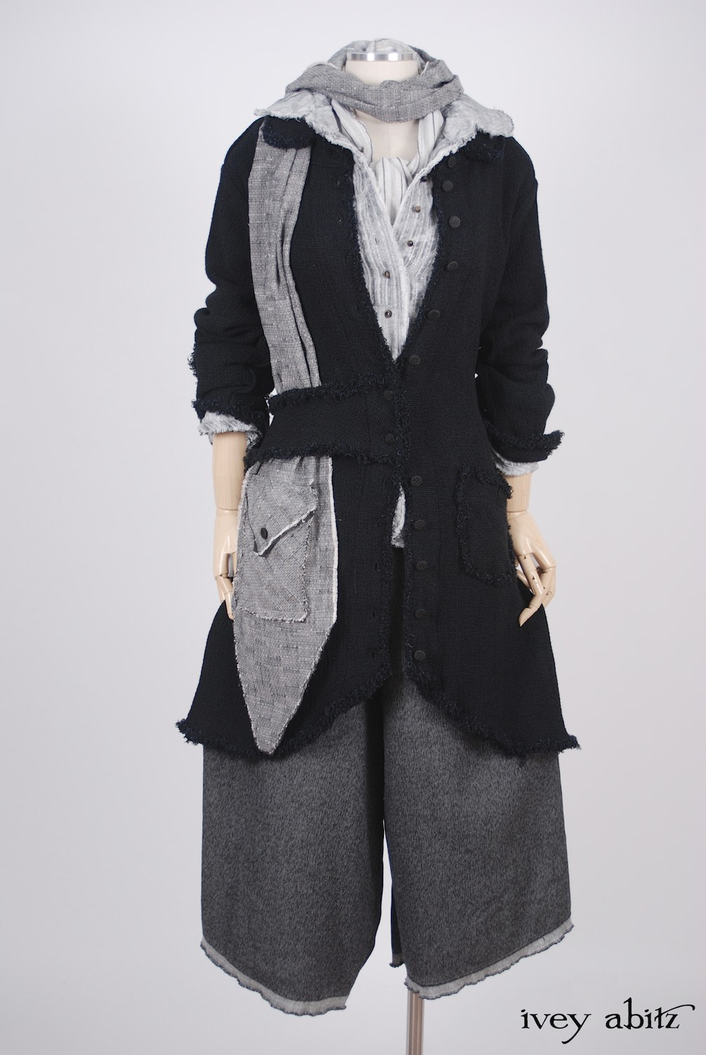 Ivey Abitz - Sollie Jacket in Blackbird Rustic Silk Linen - Sollie Shirt in Sparrow Grey Jacquard  - Baedeker Scarf in Sparrow Grey Rustic Cotton with Raw Edges  - Traipse Trousers in Blackbird Double Layered Weave