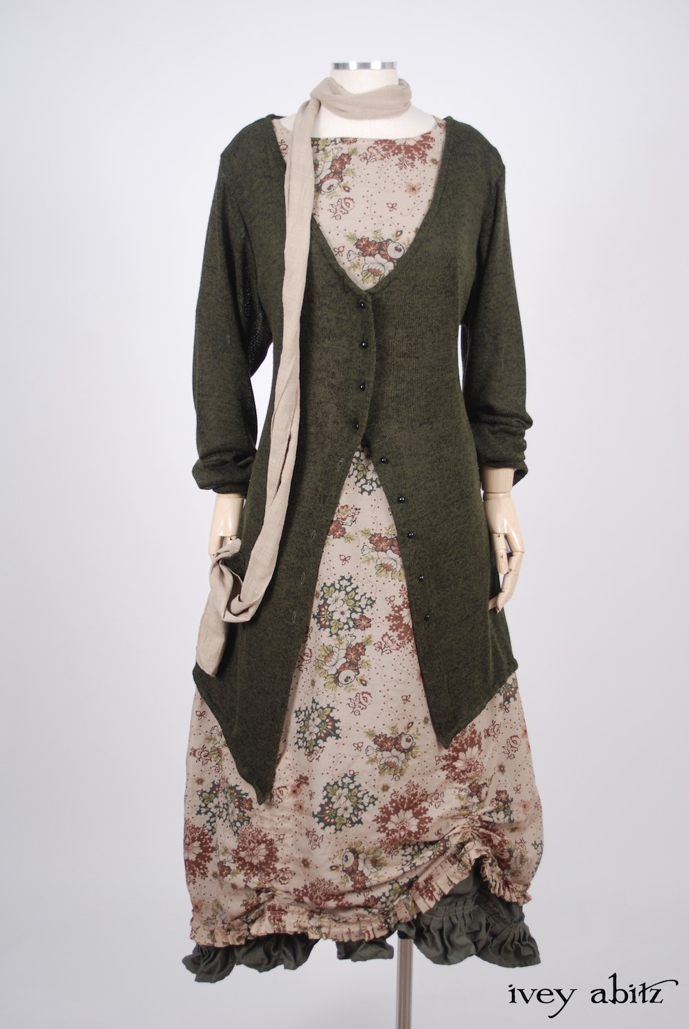 Ivey Abitz - Blanchefleur Sash in Blushed Plaid Voile  - Fairholme Jacket in Morning Meadow/Blackbird Softest Knit - Montmorency Frock in Blushed Meadow Floral Voile, High Water Length - Edenshire Frock in Morning Meadow Yarn Dyed Cotton, Low Water Length