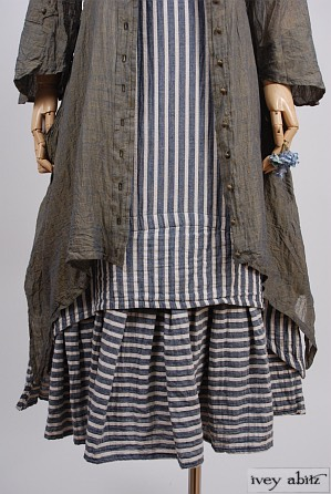 Blanchefleur Frock in Lakeland/Parchment Textured Striped Voile - Size Small/Medium