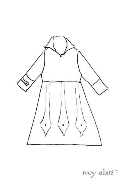 Baedeker Dress drawing by Ivey Abitz.