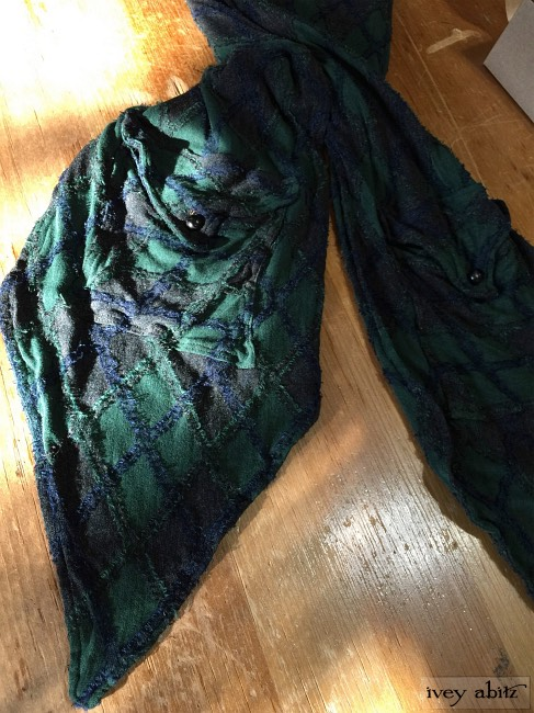 Ivey Abitz Baedeker Scarf in Rustic Argyle Knit with Antique Buttons Circa Early 1900s