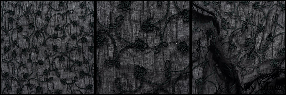 Black Embroidered Washed Voile - Collection 63 - 2020