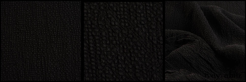 Black Puckered Check Weave