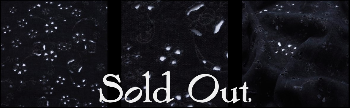 Black Rustic Eyelet Linen - SOLD OUT