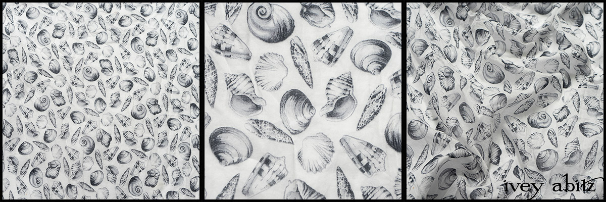 Black and White Seashell Voile - Collection 63 - 2020