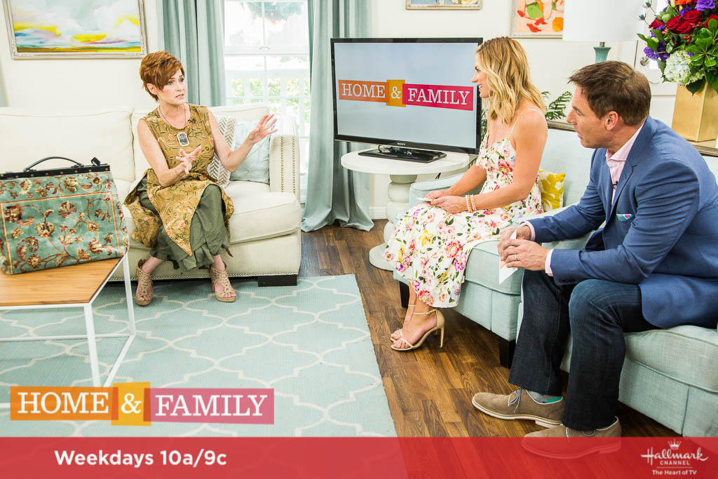 Mark Steines and Debbie Matenopoulos welcome actress and author Carolyn Hennesy wearing Ivey Abitz bespoke on the Hallmark show Home & Family, July 7, 2017.