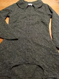 Chittister Shirt Jacket in Morning Meadow Hemstitch Jacquard with antique buttons, original patina, circa early 1900's by Ivey Abitz