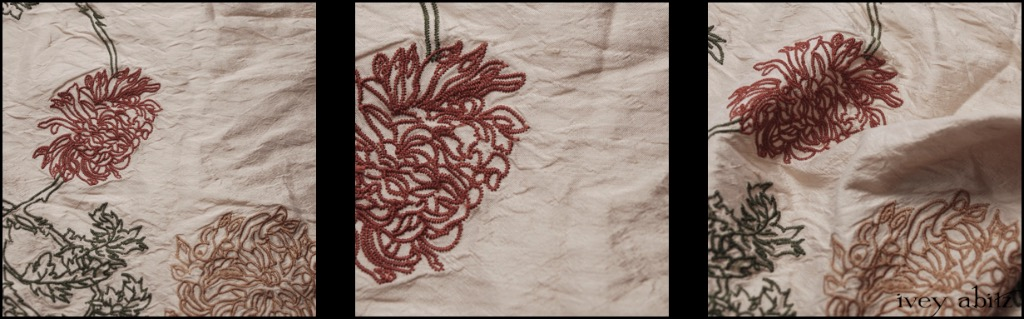 Chrysanthemum Embroidered Silk Taffeta