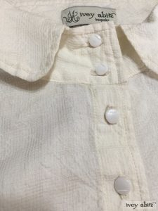 Ivey Abitz Coulson Coat Dress in Ivory Plaid Silk with Antique Glass Buttons Circa Early 1900s