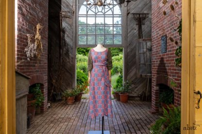 Covante Frock in Rose Garden Patch Plaid Voile; Fairholme Sash in Rose Garden Plaid Patch Voile; Chevallier Cardigan in Herb Garden Soft Ribbed Knit. Ivey Abitz at Boscobel House and Gardens