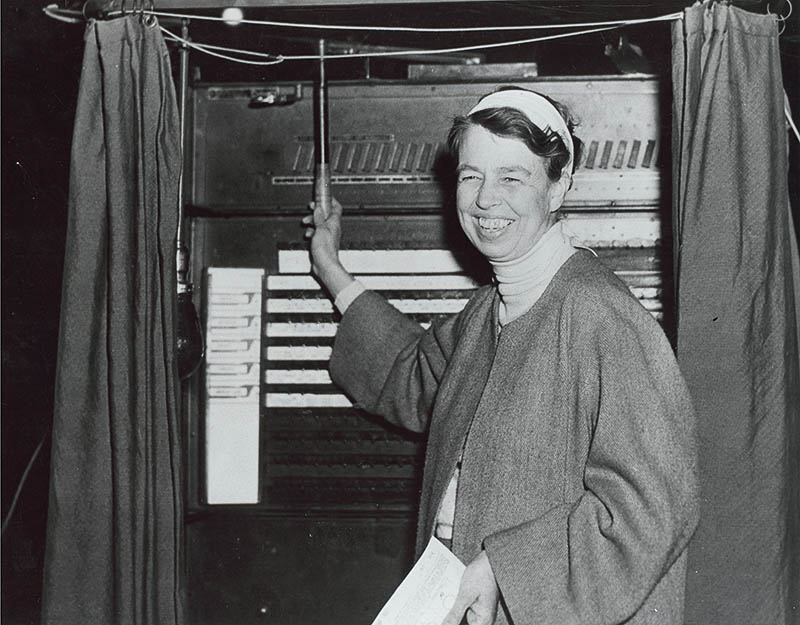 Eleanor votes in one of the first elections in which women had the right to vote. New York, November 3, 1936. Photograph courtesy FDR Library.