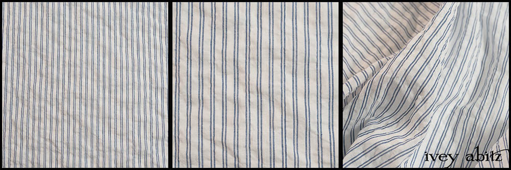 Description: This one is amazing for spring and summer. It has a very tight weave, yet it is almost as light as air. Pretty nearly opaque. Yarn dyed, which means that the stripes are woven into the fabric and not printed. The puckered effect adds to its billowy quality. Ideal for shirts and layering frocks. Content: 100 percent cotton. Four season weave.Care: Simply hand wash or put through machine delicate cycle in cold water with a plant based detergent. We suggest using a natural fabric softener to maintain the softness we have washed into it. Tumble dry on extra-low heat with our artisan wool dryer balls to keep the relaxed effect that is featured in the Look Book.