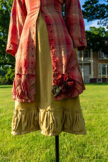 Gabled Duster Coat in Sunnyside Washed Plaid; Idyll Brooch in Rose Garden Silk Weaves; Gabled Frock in Yellow Days Washed Stretch Weave. Ivey Abitz at Boscobel House and Gardens