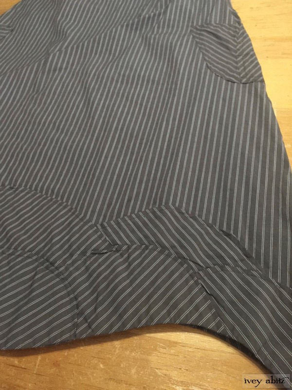 Grasmere Frock in feather brown stretchy striped cotton (1) by Ivey Abitz