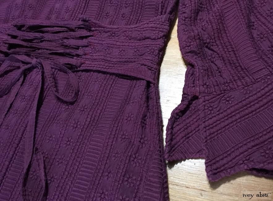 Ivey Abitz Heraldry Duster Coat in Garnet Embroidered Voile