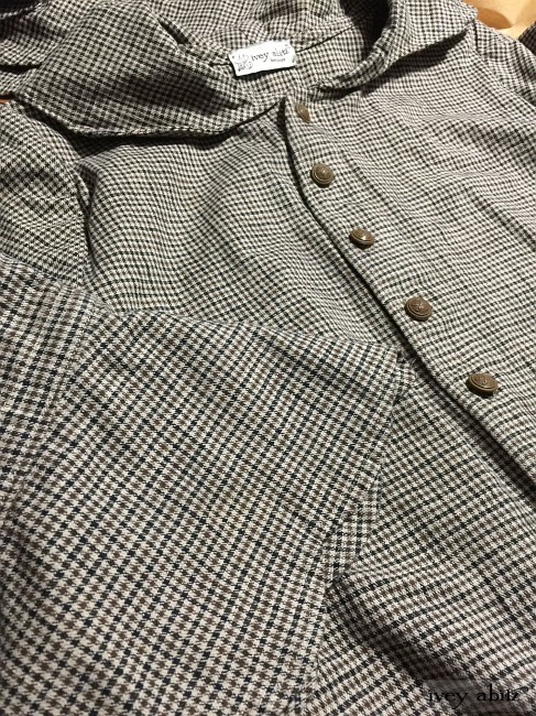 Ivey Abitz Heraldry Duster Coat in Tilled Field Checked Twill with Antique Royal Crest Buttons