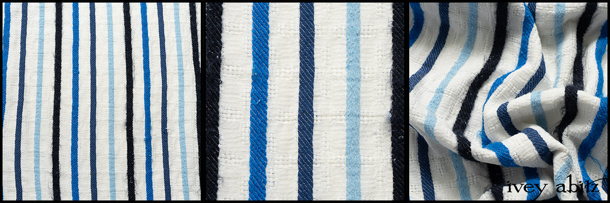 Hudson Blue Embroidered Stripe Voile - Collection 63 - 2020
