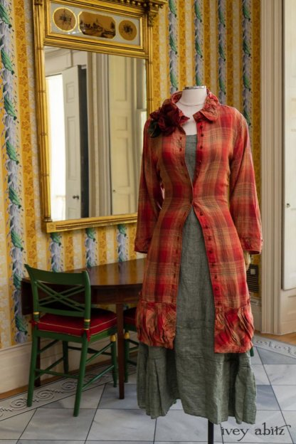 Gabled Duster Coat in Sunnyside Washed Plaid; Hudson Frock in Herb Garden Washed Linen; Cilla Slip Frock in Herb Garden Soft Ribbed Knit; Idyll Brooch in Rose Garden Silk Weaves. Ivey Abitz at Boscobel House and Gardens