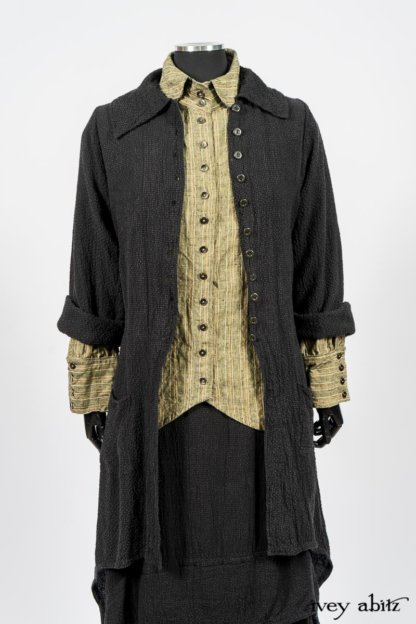 Truitt Shirt in Peace and Civility Stripe Linen; Elsie Duster Coat in Black Puckered Check Weave; Blanchefleur Frock in Black Puckered Check Weave. By Ivey Abitz