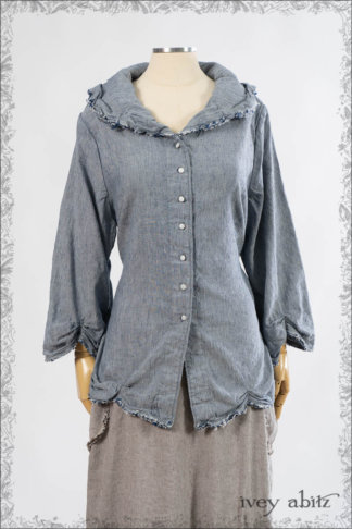 IA101 Celia Shirt in Sacred Lake Washed Stretch Linen by Ivey Abitz