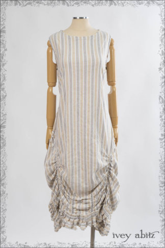 IA101 Clemmie Frock in Yellow Days Stretch Stripe Linen by Ivey Abitz