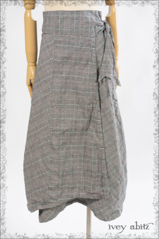 IA101 Fairholme Skirt in Black and White Plaid Stretch Linen by Ivey Abitz
