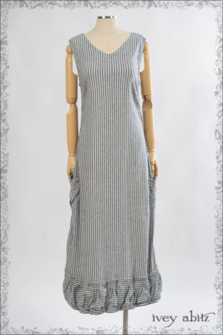 IA101 Gabled Frock in Sacred Lake Striped Stretch Linen by Ivey Abitz