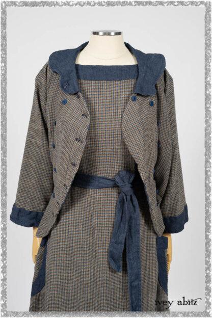 Sennen Jacket in Estuary Petite Check with Estuary Wondrous Washed Linen details; Sennen Frock in Estuary Petite Weave with Estuary Wondrous Washed Linen details. Ivey Abitz bespoke clothing.
